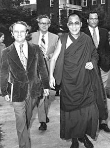 The Dalai Lama w/Jeffrey Hopkins at UVa, Nov. 1979. Prof. Hopkins was the Dalai Lama's official interpreter from 1976 to 1996. Photo by Edwin Roseberry